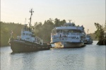 The ship has substituted the burnt hotel on the Valaam Island