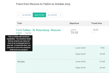 Electronic Registration Available on Moscow-Tallinn Route