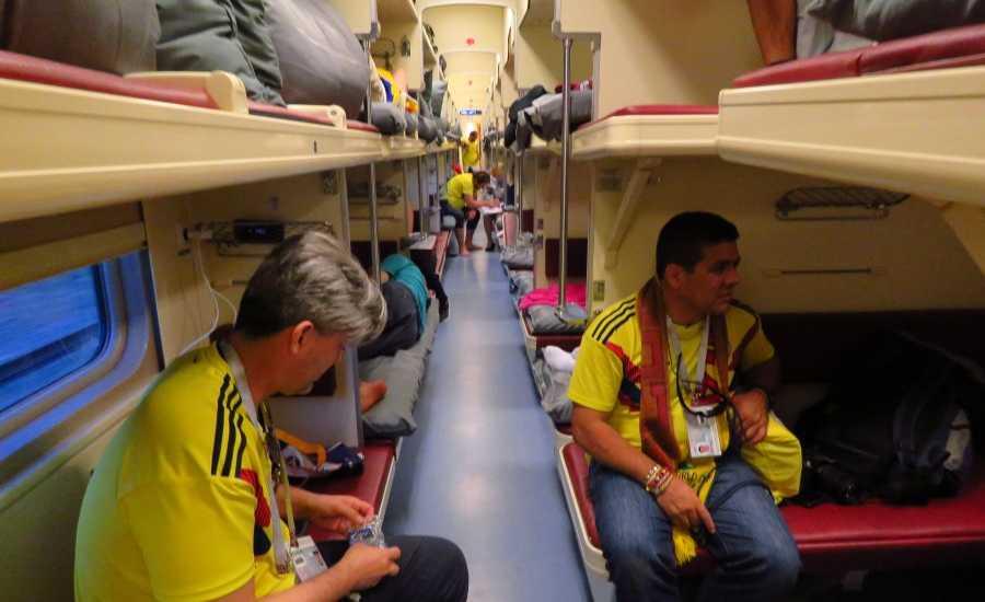 Soccer fans on a Russian train